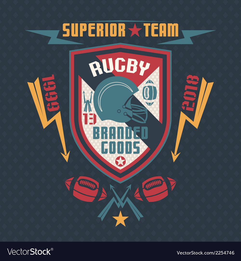 College sport emblem rugby team vector | Price: 1 Credit (USD $1)