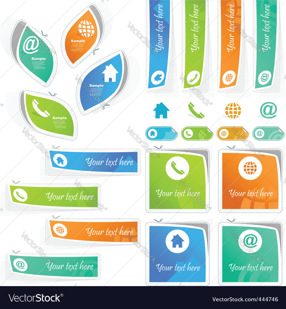 Contact element set for design vector | Price: 1 Credit (USD $1)