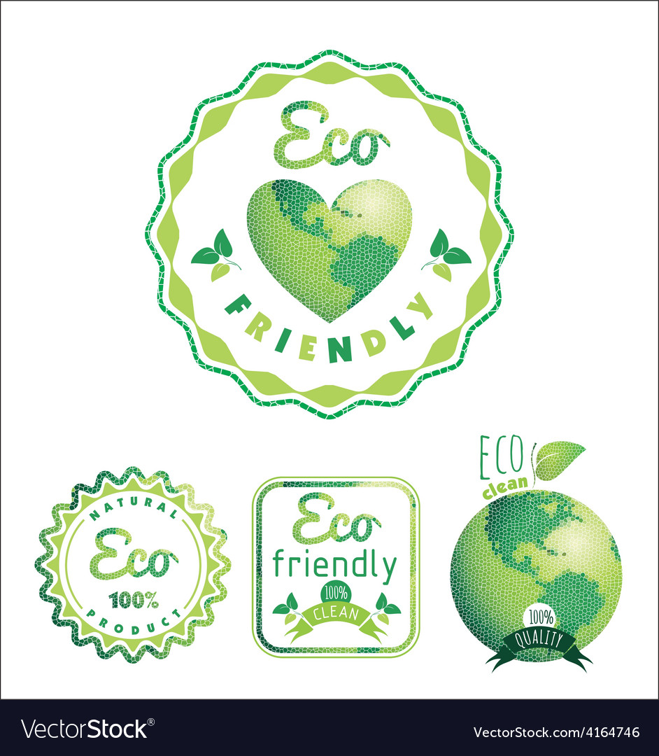 Eco labels bio template ecology theme vector | Price: 1 Credit (USD $1)