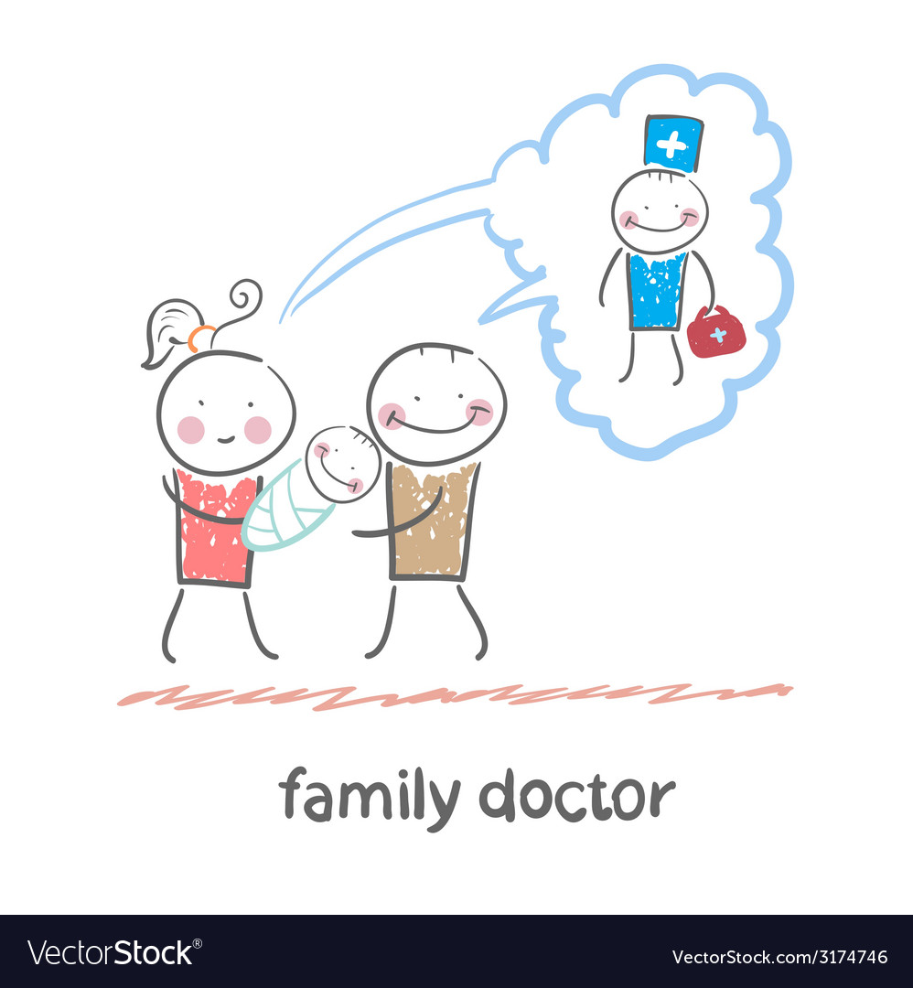 Family thinks about the family doctor vector | Price: 1 Credit (USD $1)