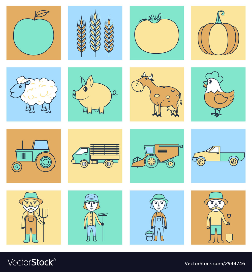 Farm icons set flat line vector | Price: 1 Credit (USD $1)