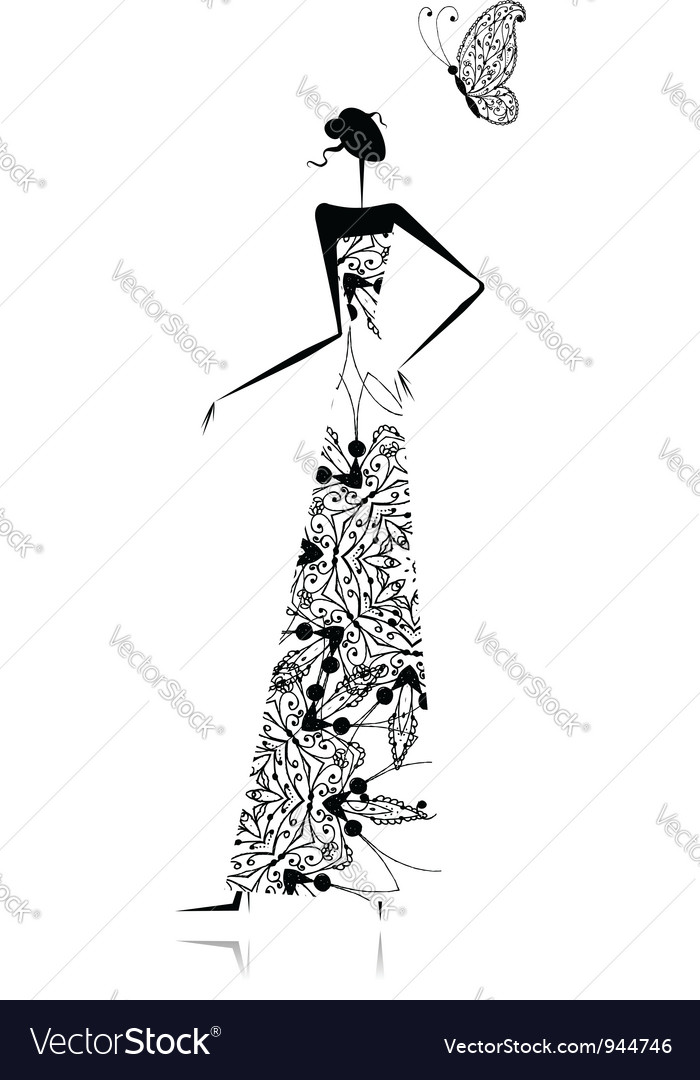 Fashion girl silhouette in wedding dress vector | Price: 1 Credit (USD $1)