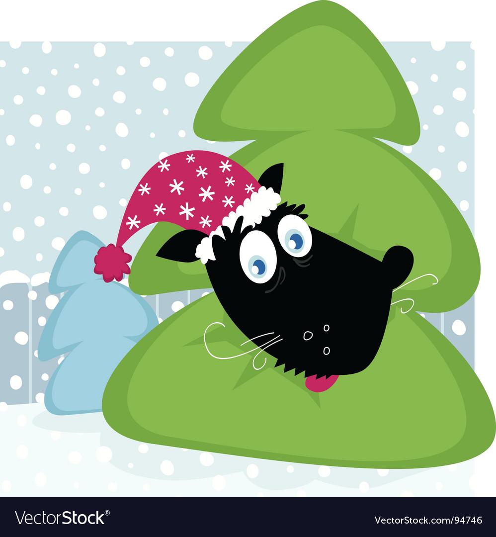 Funny dog inside christmas tree vector | Price: 1 Credit (USD $1)