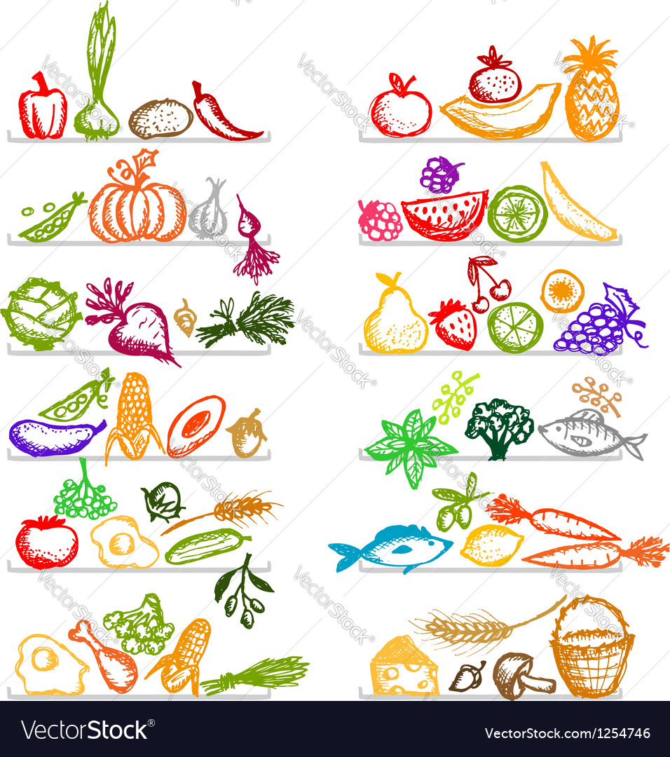 Healthy food on shelves sketch for your design vector | Price: 1 Credit (USD $1)