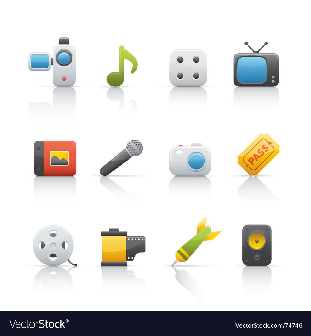 Icon set entertainment vector | Price: 1 Credit (USD $1)