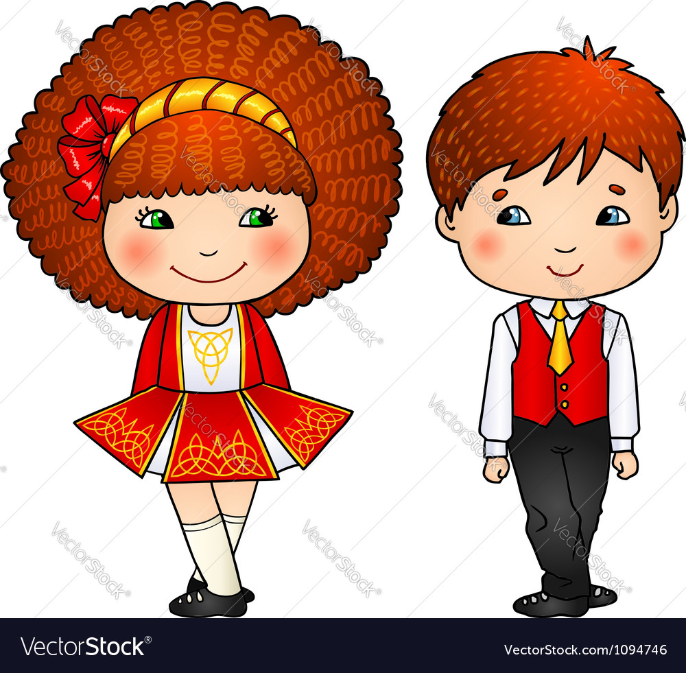 Irish dancing kids in traditional costumes vector | Price: 1 Credit (USD $1)