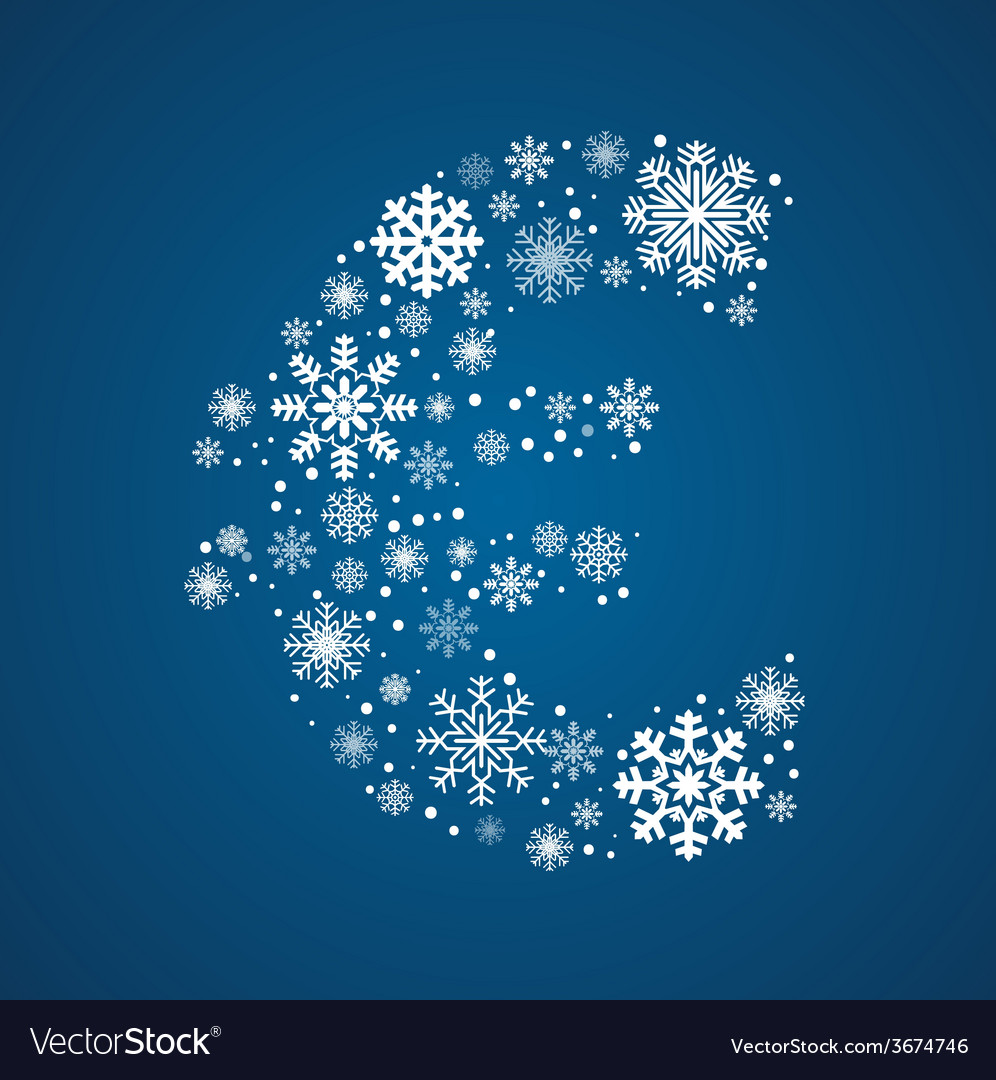 Letter font frosty snowflakes vector | Price: 1 Credit (USD $1)