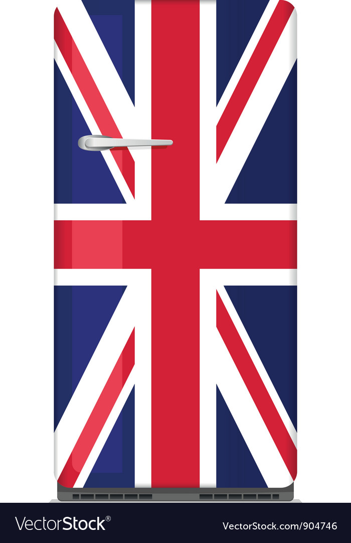 Retro fridge with uk flag vector | Price: 1 Credit (USD $1)