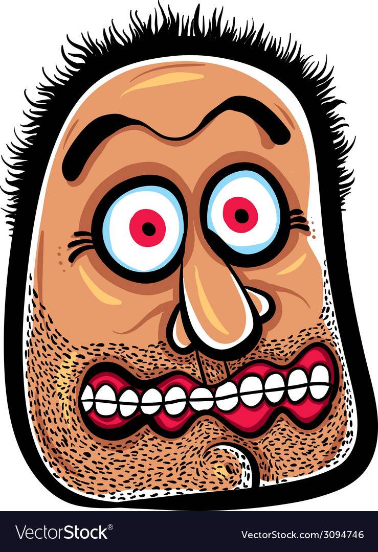 Shocked cartoon face with stubble vector | Price: 1 Credit (USD $1)