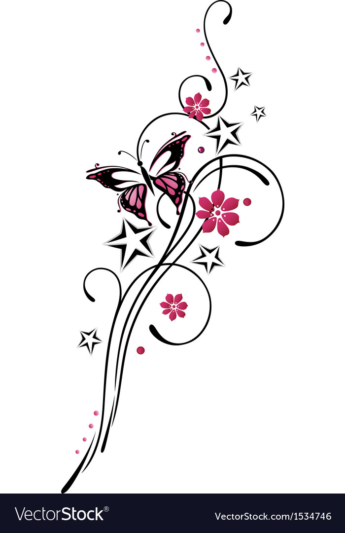 Tribal flower butterfly tattoo style vector | Price: 1 Credit (USD $1)