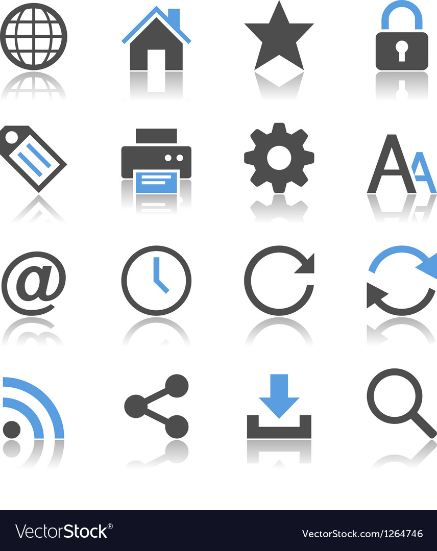 Web icons reflection vector | Price: 1 Credit (USD $1)