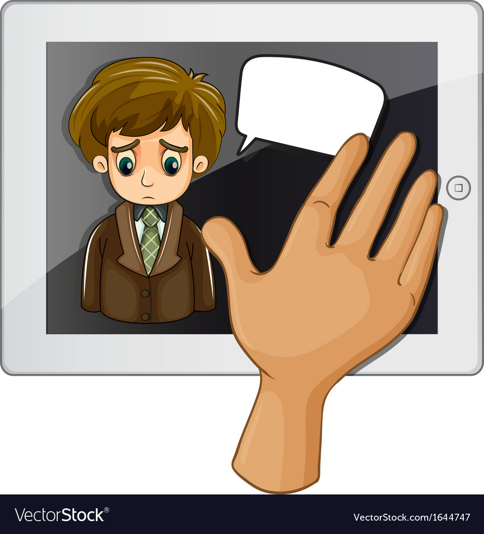 A hand touching the gadget with a sad man vector | Price: 1 Credit (USD $1)