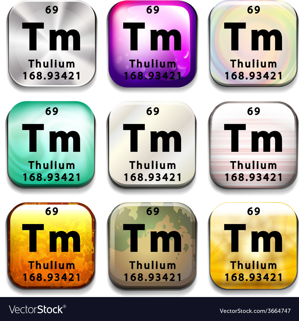 A periodic table button showing the thulium vector | Price: 1 Credit (USD $1)