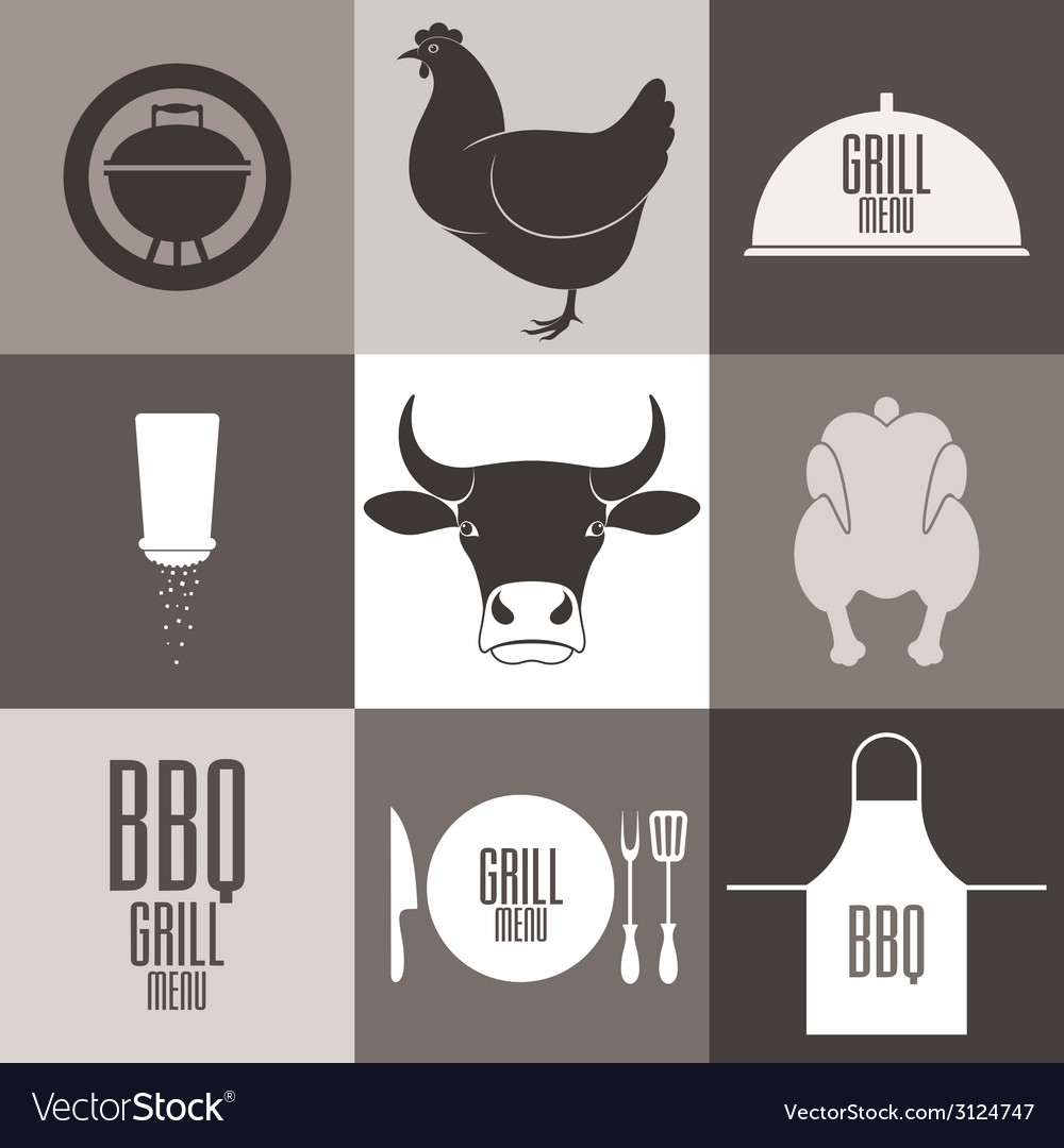 Barbecue grill icon set vector | Price: 1 Credit (USD $1)