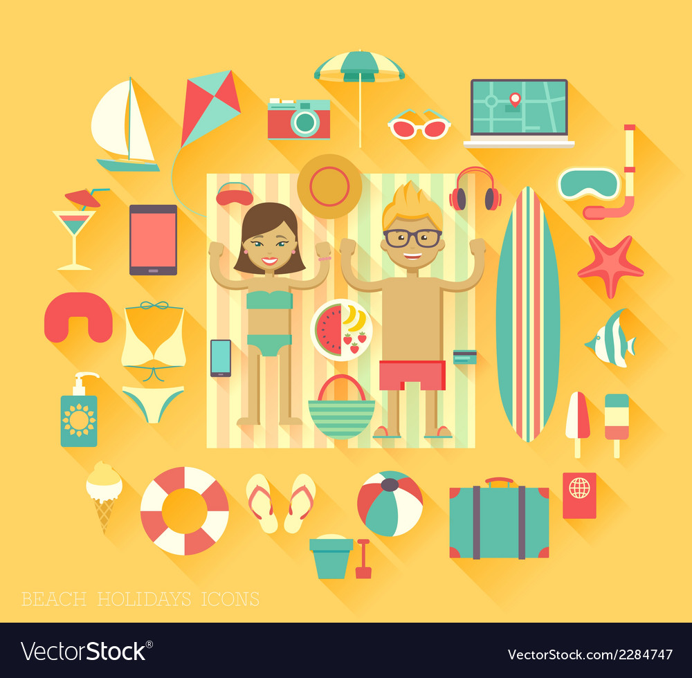 Beach vacation icons vector | Price: 1 Credit (USD $1)