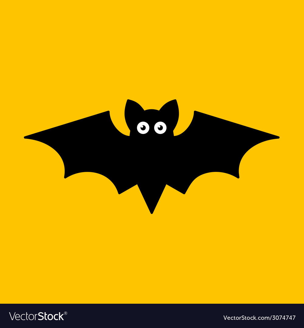 Cartoon bat on orange background vector | Price: 1 Credit (USD $1)