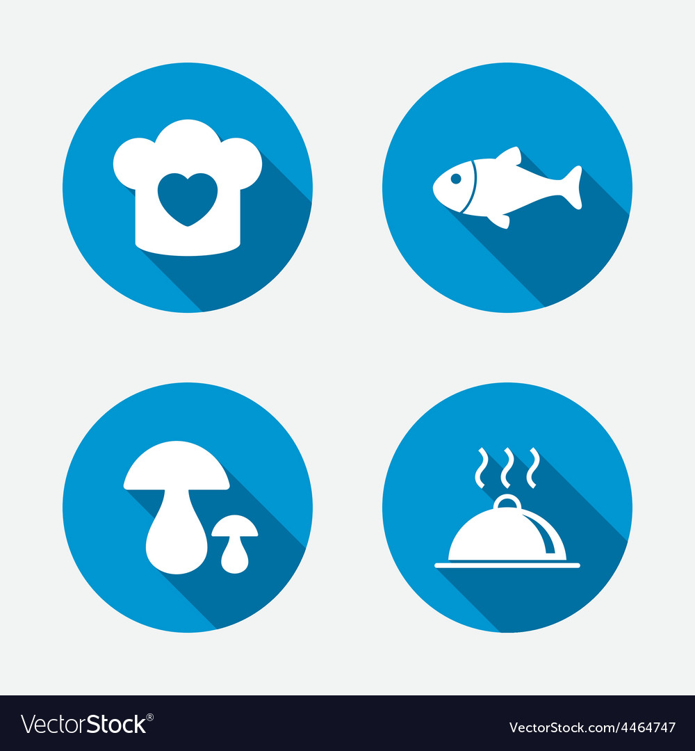 Chief hat cooking pan icons fish and mushrooms vector | Price: 1 Credit (USD $1)