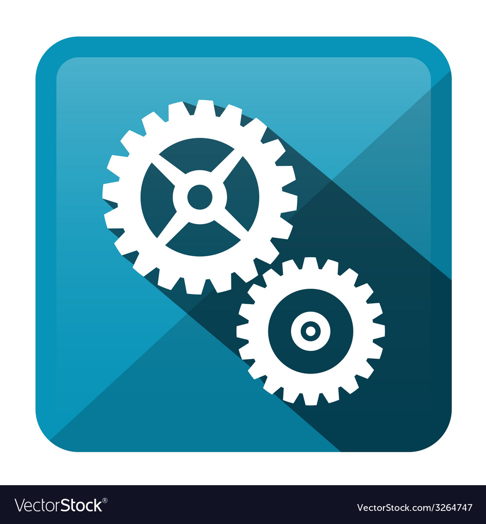 Cog - gear blue rounded square icon vector | Price: 1 Credit (USD $1)