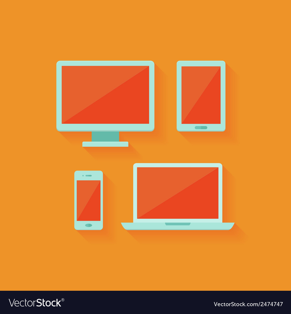 Flat computer and mobile devices set over orange vector | Price: 1 Credit (USD $1)