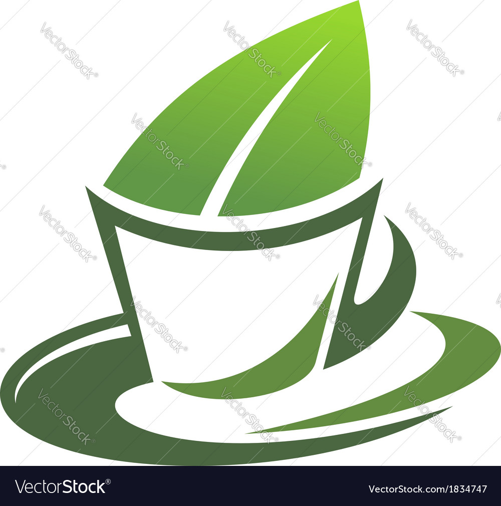 Herbal tea with a green leaf vector | Price: 1 Credit (USD $1)