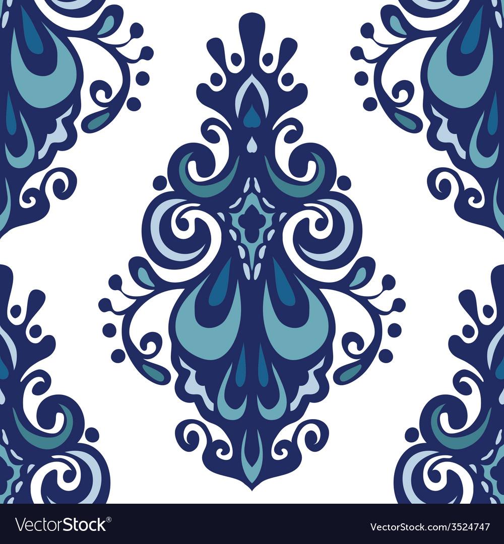 Luxury damask flower seamless pattern vector | Price: 1 Credit (USD $1)