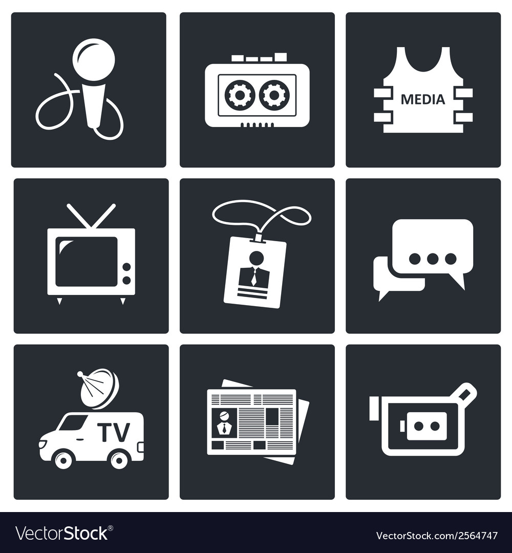 Media icon set vector | Price: 1 Credit (USD $1)