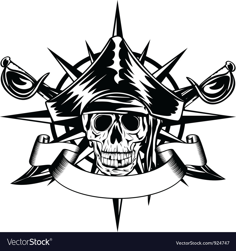 Skull and wind rose vector | Price: 1 Credit (USD $1)