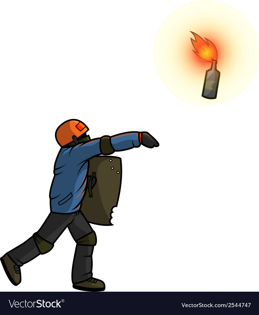 Vandal throws molotov cocktail vector | Price: 1 Credit (USD $1)