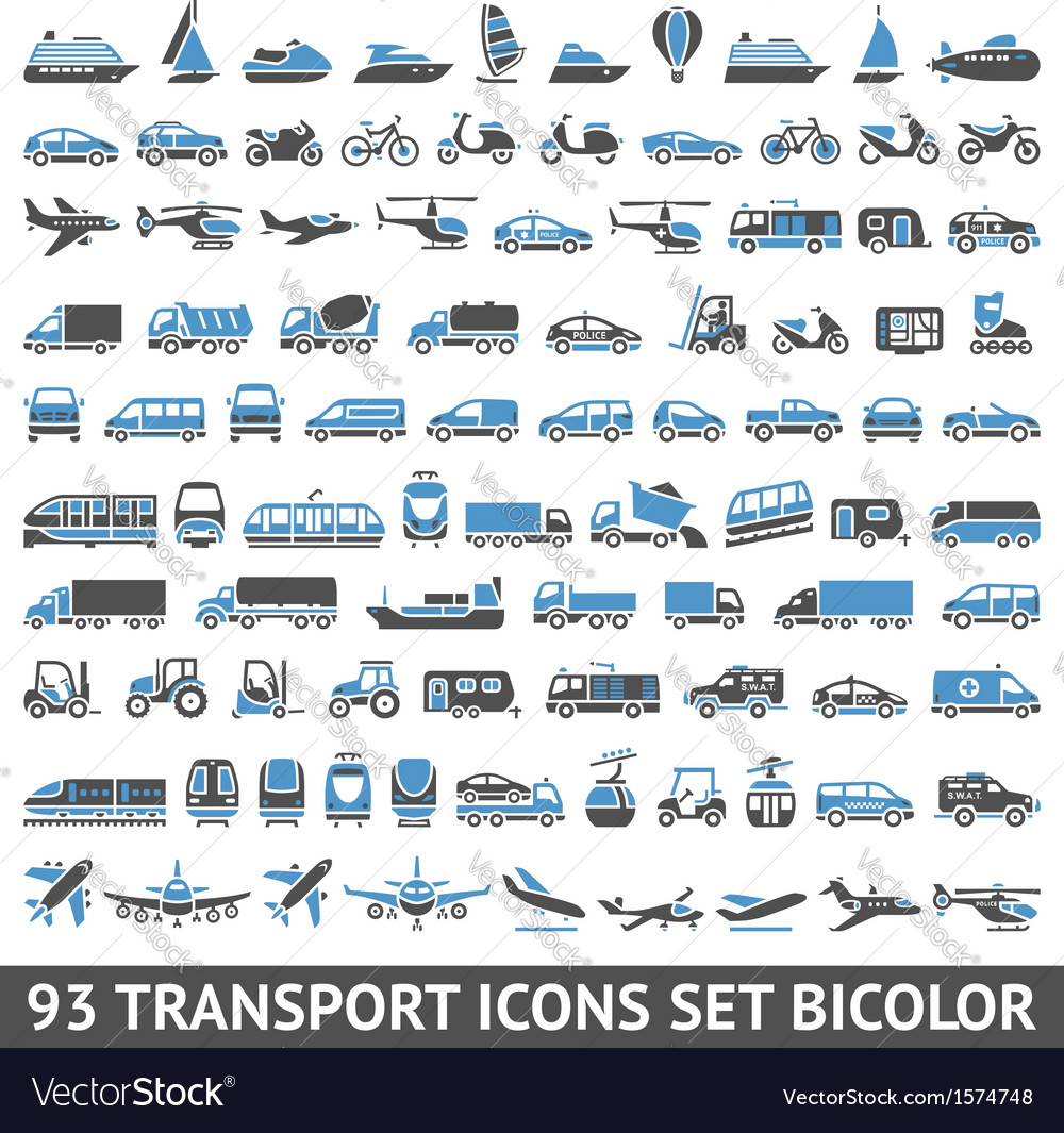 93 transport icons set blue and gray vector | Price: 1 Credit (USD $1)