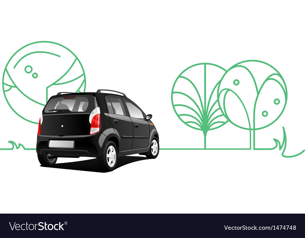 Car and trees vector | Price: 1 Credit (USD $1)