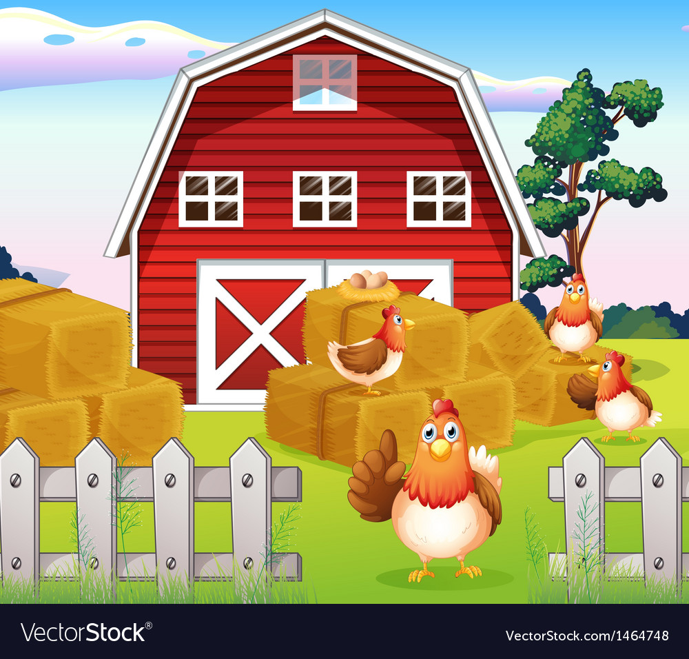 Chickens at the farm near the red barnhouse vector | Price: 1 Credit (USD $1)