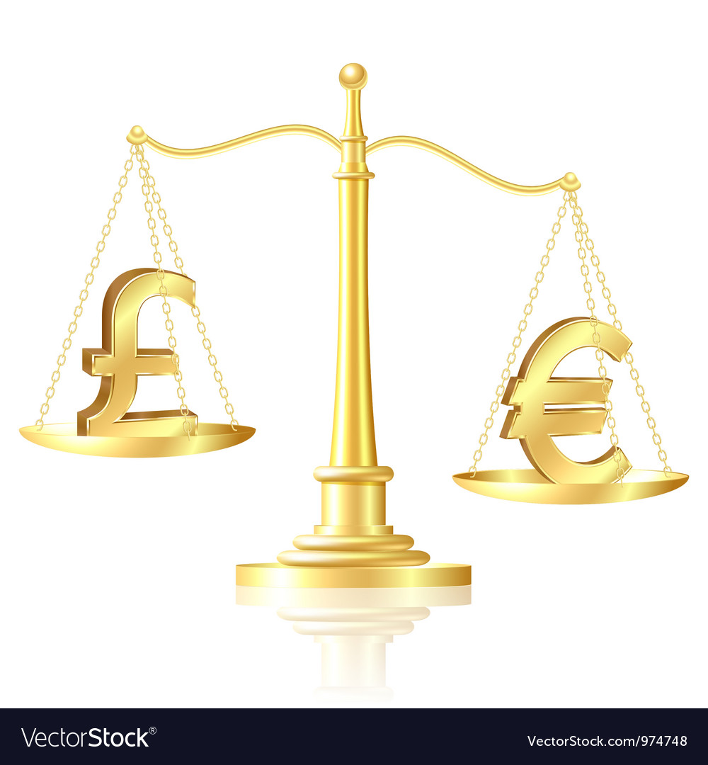 Euro outweighs pound sterling on scales vector | Price: 1 Credit (USD $1)