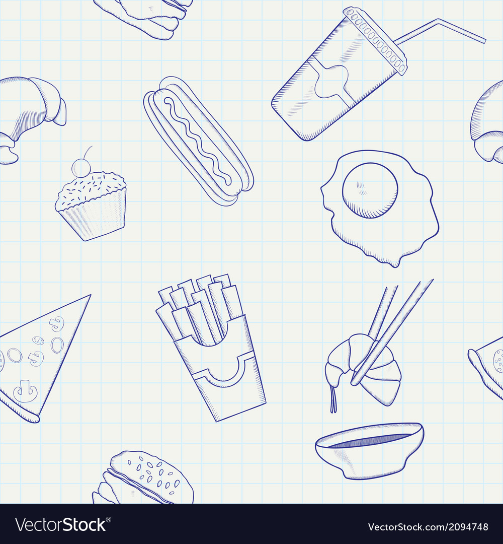 Food and drink hand drawn seamless pattern vector | Price: 1 Credit (USD $1)