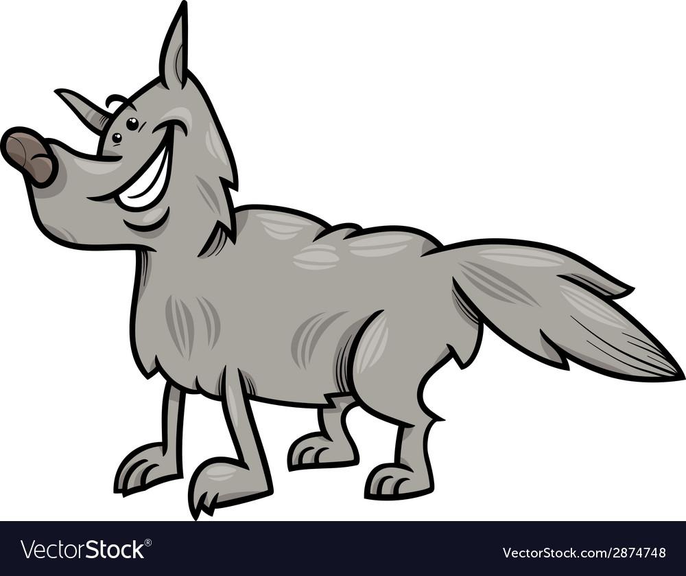 Gray wolf animal cartoon vector | Price: 1 Credit (USD $1)