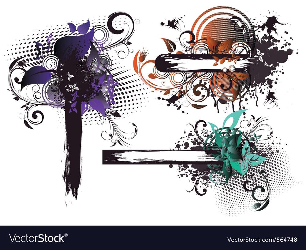 Grunge floral frames set vector | Price: 1 Credit (USD $1)
