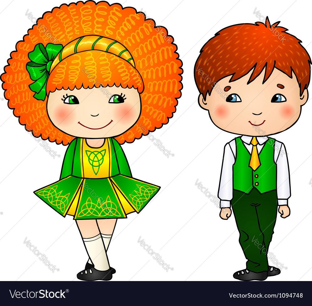 Irish dancing kids in traditional costumes vector | Price: 1 Credit (USD $1)