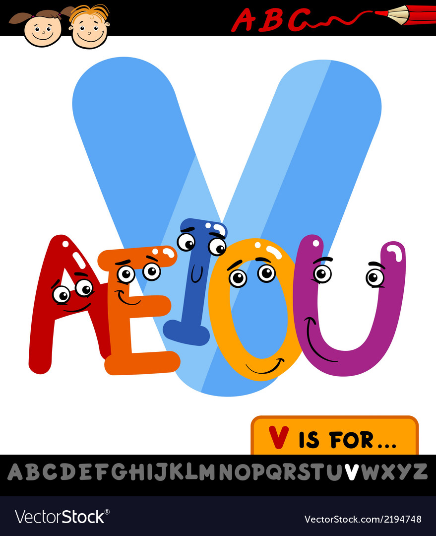 Letter v with vowels cartoon vector | Price: 1 Credit (USD $1)