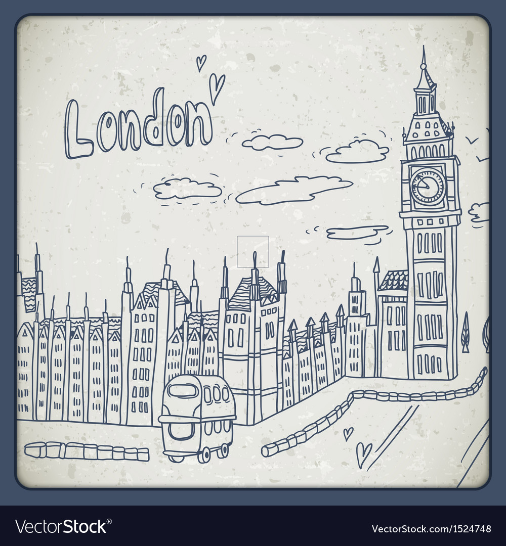 London doodles drawing landscape in vintage style vector | Price: 1 Credit (USD $1)