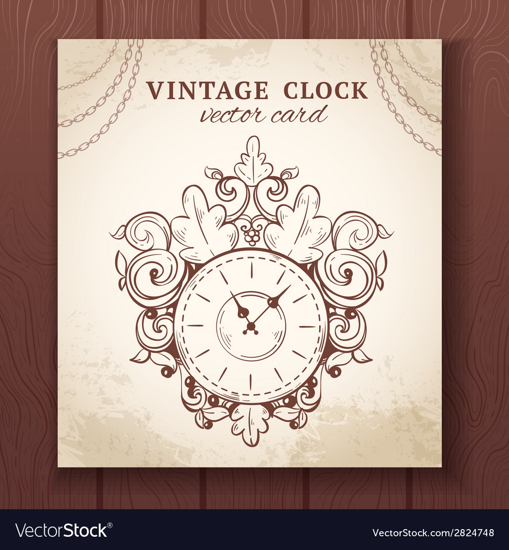 Old vintage wall clock card vector | Price: 1 Credit (USD $1)