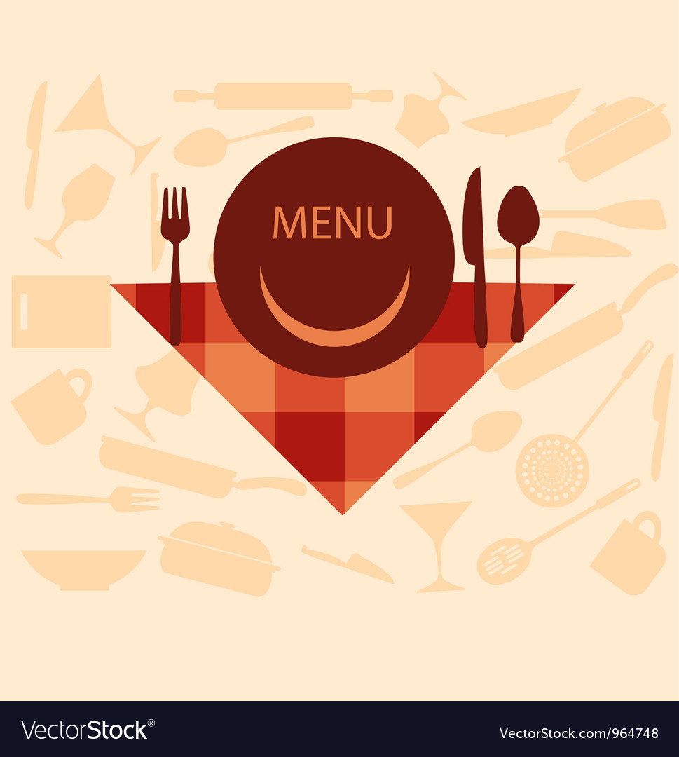 Restaurant menu design with smiley on plate vector | Price: 1 Credit (USD $1)