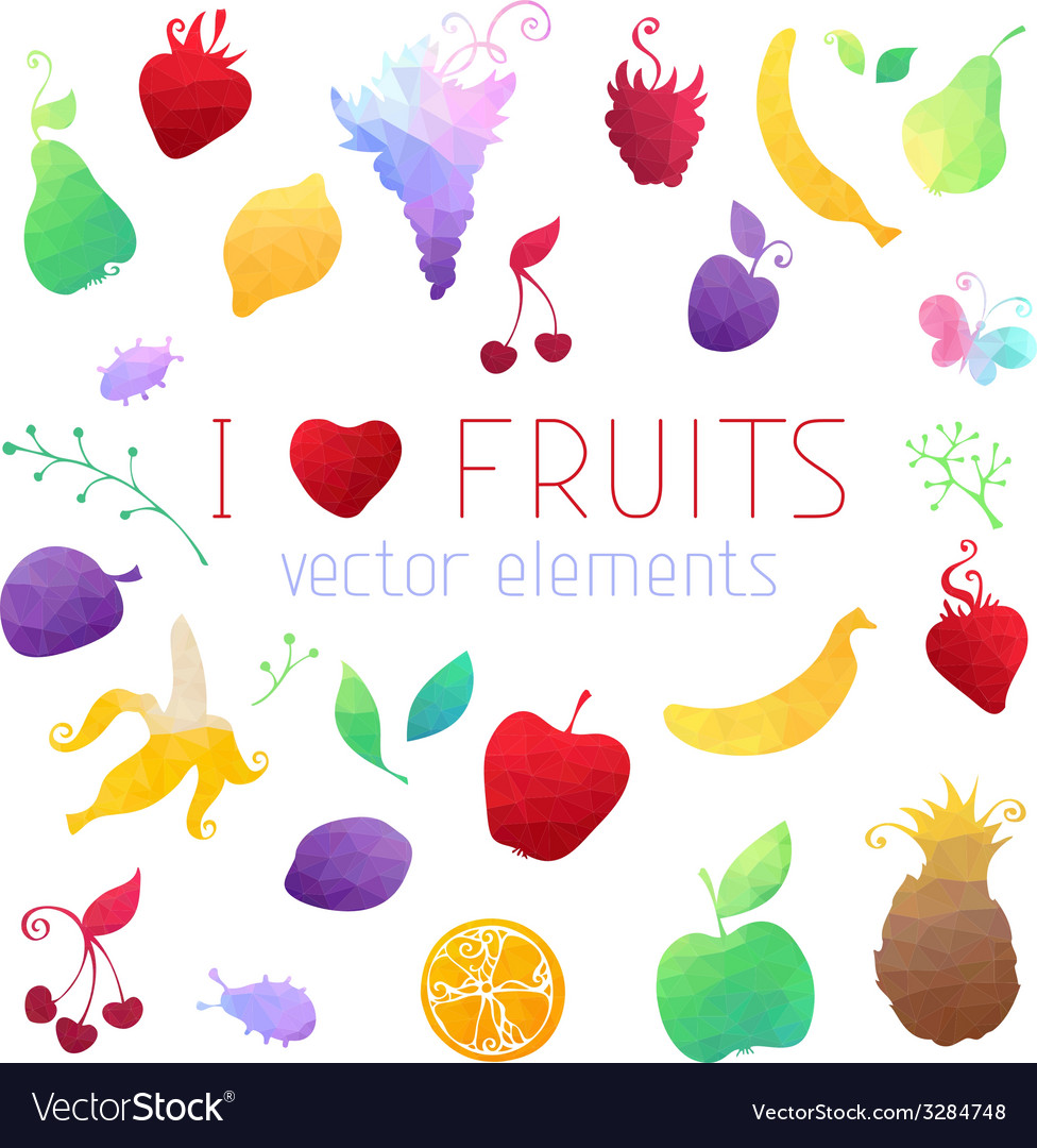 Set of geometric fruit icons vector | Price: 1 Credit (USD $1)