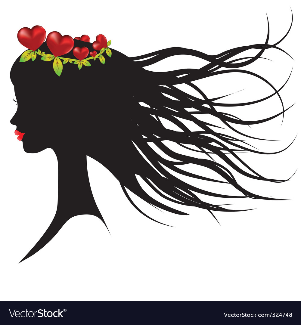 Silhouette of young woman vector | Price: 1 Credit (USD $1)