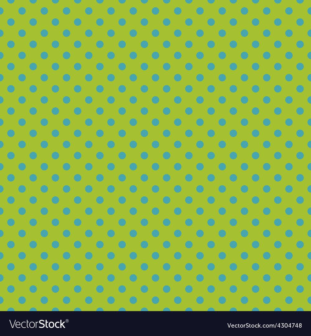 Tile pattern blue polka dots on green background vector