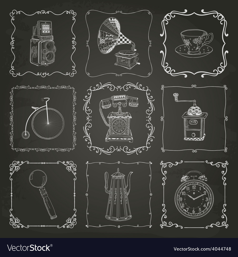 Vintage icons and frames vector | Price: 1 Credit (USD $1)