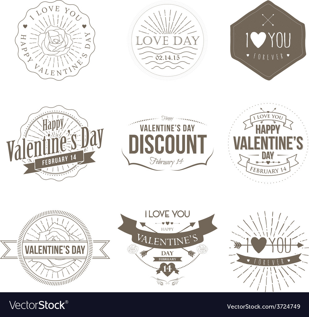Badges valentine vintage vector | Price: 1 Credit (USD $1)