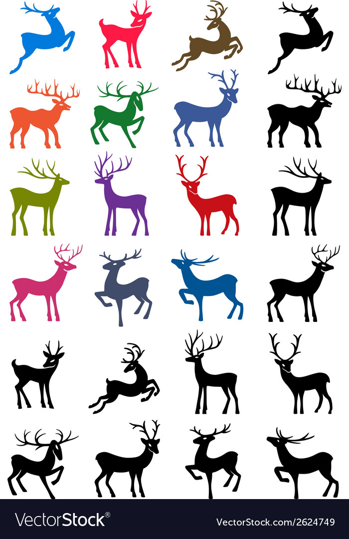 Colored and black outlined deer silhouettes vector | Price: 1 Credit (USD $1)