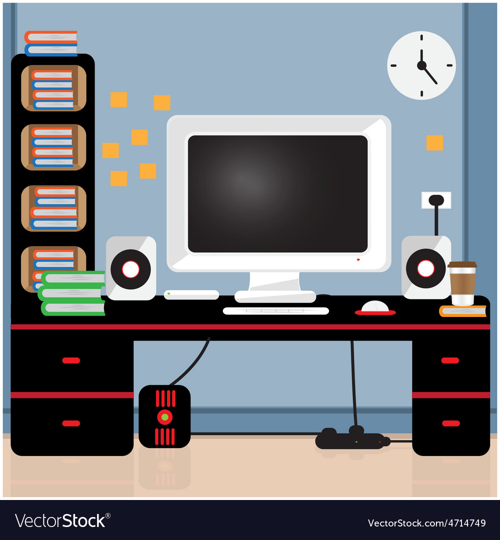 Computer desk vector | Price: 3 Credit (USD $3)
