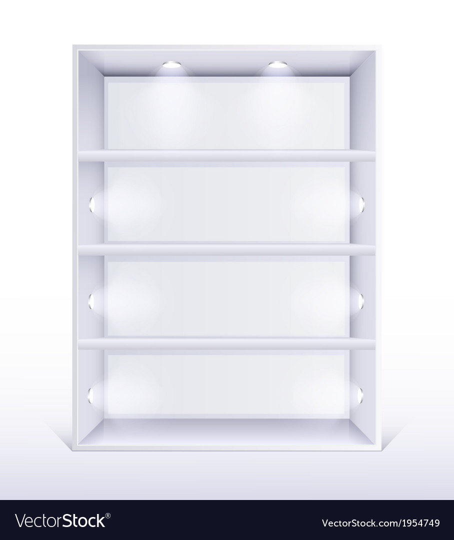 Gallery interior with shelves and spotlight vector | Price: 1 Credit (USD $1)