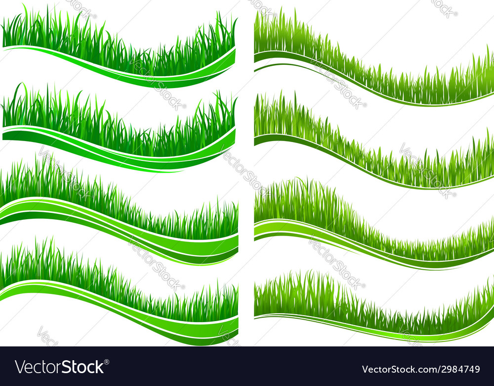 Green colored grass borders vector | Price: 1 Credit (USD $1)