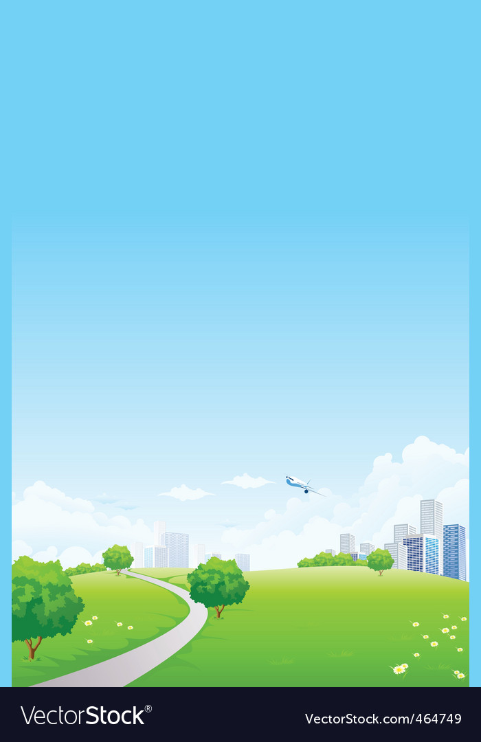 Green landscape with city vector | Price: 1 Credit (USD $1)